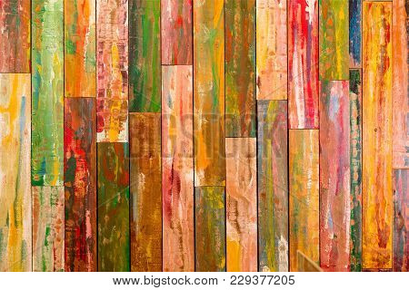 Colourful Vertical Wood Paneling With Red, Green, Yellow, And Blue Paint. Wood Paneling Background T