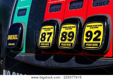 Indianapolis - Circa March 2018: Gas Station Pumps With Choice Of Diesel, 87 Octane, 89 Octane Or 93