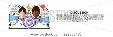 Discussion Business Meeting Brainstorming Concept Horizontal Web Banner With Copy Space Vector Illus