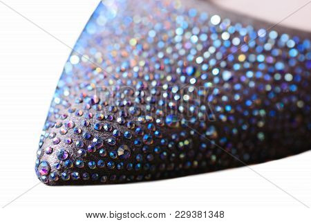 Glamorous Women's Shoes Encrusted With Crystals And Close Up With Shallow Depth Of Field And Selecti