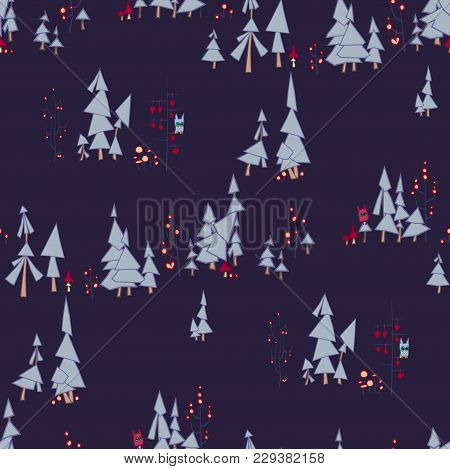Fairy Night Seamless Pattern. Fairy Forest With Owls And Monsters. On The Illustration There Are Pin