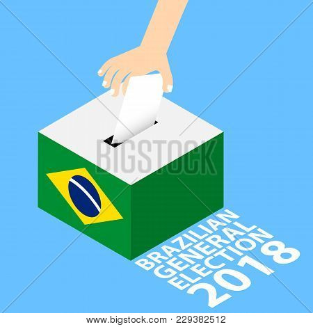 Brazilian General Elections 2018 Vector Illustration Flat Style - Hand Putting Voting Paper In The B