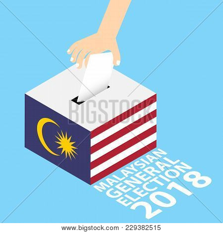 Malaysian General Elections 2018 Vector Illustration Flat Style - Hand Putting Voting Paper In The B