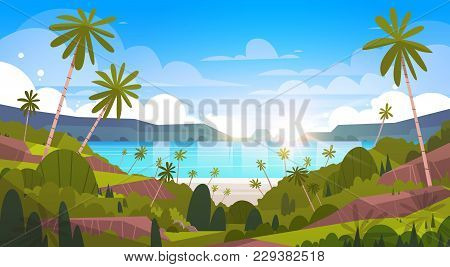 Beautiful Seaside Landscape Summer Beach With Palm Tree Exotic Resort View Flat Vector Illustration
