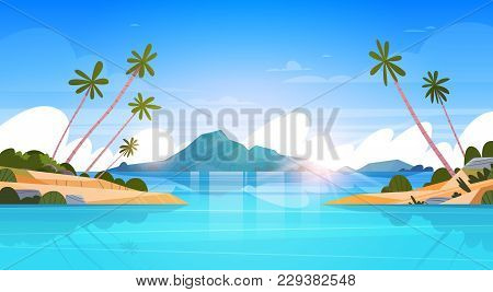 Beautiful Seaside Landscape Summer Beach With Mountains, Blue Water And Palm Trees Exotic Resort Hor