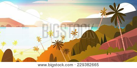 Amazing Sunset On Seaside Horizontal Banner, Tropical Landscape Summer Beach With Palm Tree Exotic R