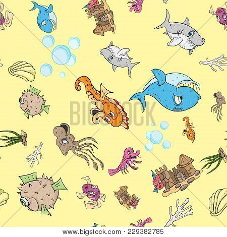 Vector Seamless Pattern Illustration, Underwater, Fish, Whale, Big Sharks, And The Inhabitants Of Th