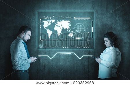 Man And Woman Chat On Smartphone. Communication Concept