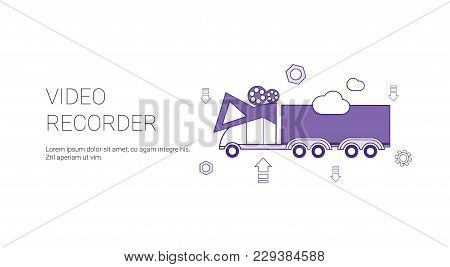 Video Recorder In Car Template Web Banner With Copy Space Vector Illustration