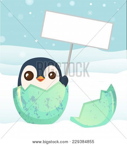 Penguin Hatched From The Egg. Penguin Holding Blank Sign. Bird Cartoon Illustration.