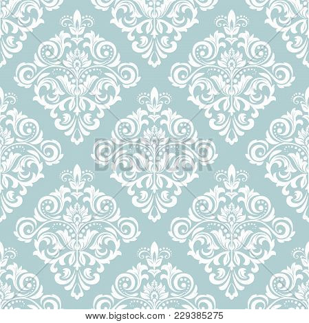 Floral Pattern. Wallpaper Baroque, Damask. Seamless Vector Background. Blue And White Ornament.