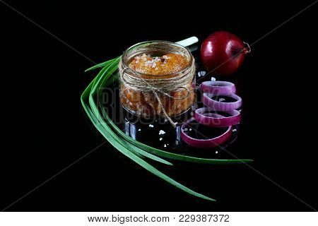 Delicious Caviar, Roe Close Up, Pike Caviar In A Transparent Jar, Purple Onion Cut Into Rings On A B