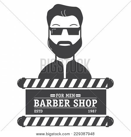 Logo Salon Of Hairdressing Salon With The Text And An Edge Of The Razor.the Man With A Beard And Mou