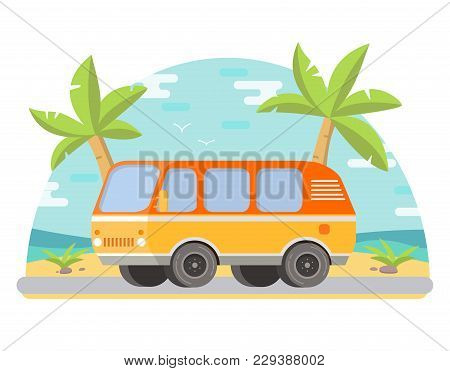 Tropical Landscape Palm Trees On The Seashore The Sandy Beach.road A Trip A Travel To Van.in Flat St