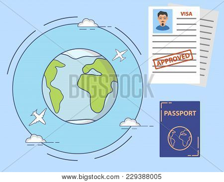 The Approved Visa Application Form With A Stamp And The Photo Of The Young Man. The International Pa