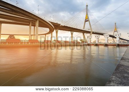 Twin Suspension Bridge River Front With Watergate During Sunset, Rama3 Bridge