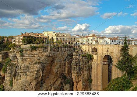 The El Tajo Gorge, The New Bridge (puente Nuevo) And The New Town - Ronda, Andalusia, Spain