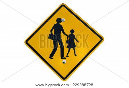 School Zone Sign Post Isolated On White Background