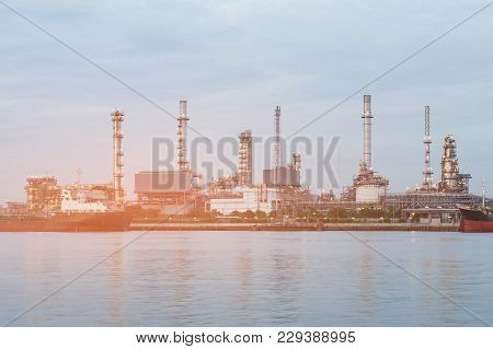 Oil Refinery River Front, Industrial Petroleum Background