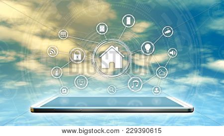 Futuristic Smart Home Interface With A Network Of Icons With A Tablet Pc, Sky And Clouds On Backgrou
