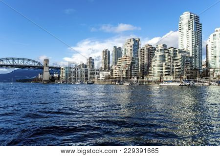 Burrard Street Bridge, Beach Avenue And False Creek From Granville Island - Vancouver, Bc