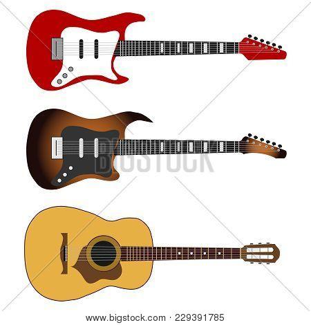 Electric Guitar, A Set Of Realistic Electric Guitars. Musical Instrument. Flat Design, Vector Illust