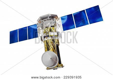 Satellite Solar Panels For Sounding The Earth, Isolated On White Background