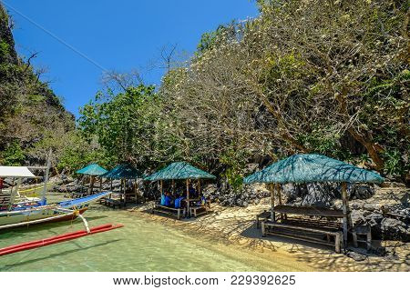Coron, Philippines - Apr 10, 2017. Small Pier In Coron Island, Philippines. Coron Is A Wedge-shaped