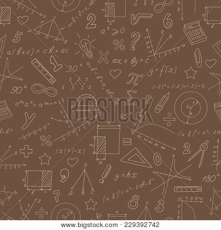 Seamless Pattern On The Theme Of Study And Subject Of Math, Graphs And Formulas, Beige Outlines On A