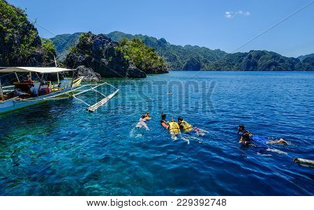 Coron, Philippines - Apr 10, 2017. Tourists Enjoy On Sea In Coron Island, Philippines. Coron Is A We