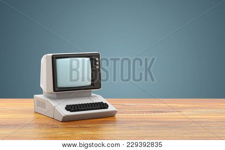 Old Personal Computer On Table. 3d Illustration