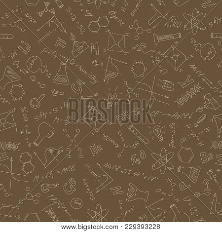 Seamless Pattern On The Theme Of Study And Subject Of Chemistry, Graphs ,equipment And Formulas, Bei