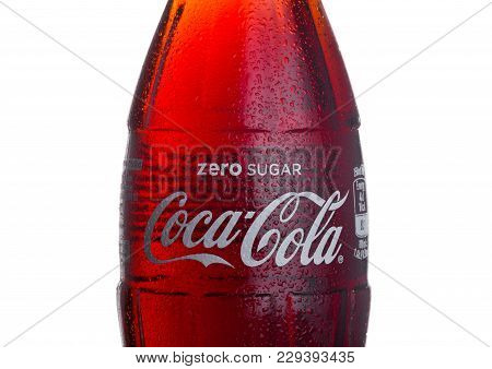 London, Uk - March 01, 2018:  Cold Bottle Of Zero Coca Cola Drink  On White Background. The Drink Is