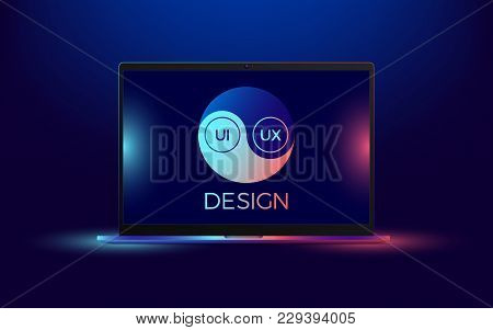 Vector Laptop With Blue And Red Illumination. Computer Notebook With Yin Yang Symbol, Concept Of Int