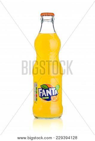London, Uk - March 01, 2018: Glass Bottle Of Fanta Orange Soft Drink On White Background.