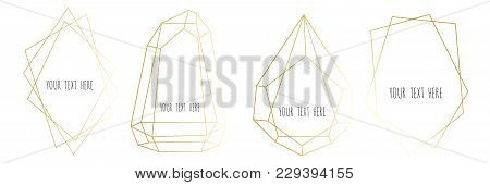 Set Of Gold Geometrical Polyhedron, Frame Border With Copy Space. Modern Abstract Vector Backgrounds