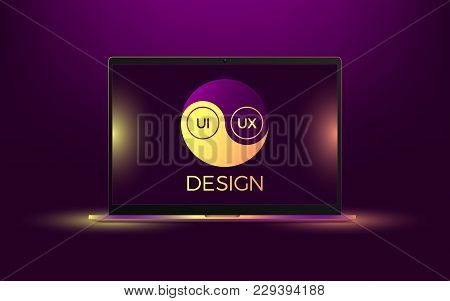 Vector Laptop With Yellow And Orange Illumination. Computer Notebook With Yin Yang Symbol, Concept O