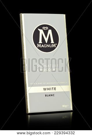 London, Uk - March 01, 2018: Luxury Chocolate Bar Of Magnum Signature White Chocolate On Black Backg