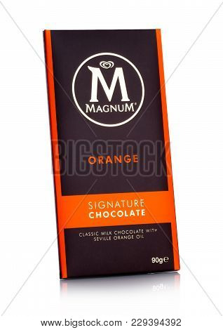 London, Uk - March 01, 2018: Luxury Chocolate Bar Of Magnum Signature Chocolate With Orange On White