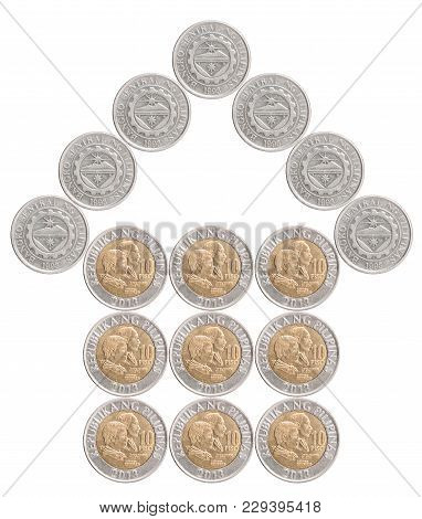 House Built From Philippines Coins Isolated On White Background