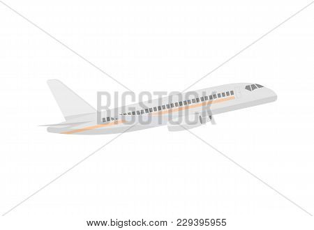 Modern Passenger Airplane Isolated Icon. Flying Aircraft, Commercial Airline Sign, Jet Plane Illustr
