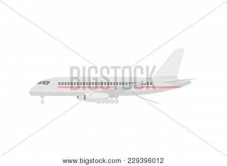 Loading Airplane Isolated Icon. Flying Aircraft, Commercial Airline Sign, Jet Plane Illustration Iso