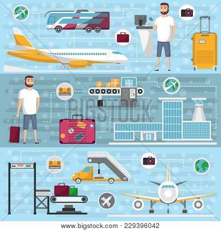 Passenger Airline Set In Flat Style. Civil Aviation Infrastructure Elements. Jet Plane, Conveyor Wit