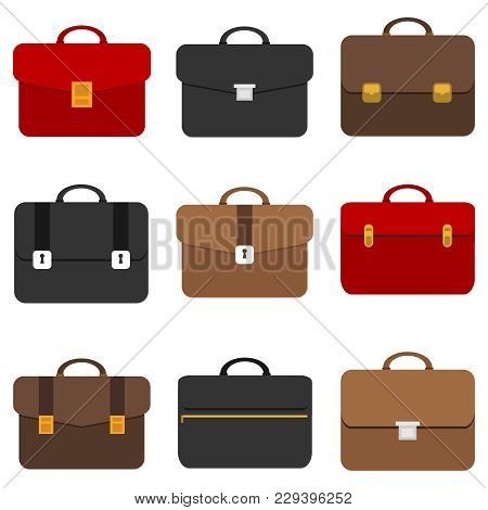 Briefcase, Business Briefcase. Briefcase Of A Businessman. Flat Design, Vector Illustration, Vector.