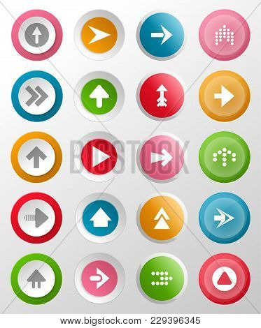 Round Buttons With Arrow Symbols. Circle Interface Navigation Elements For Web Design Or Mobile Appl