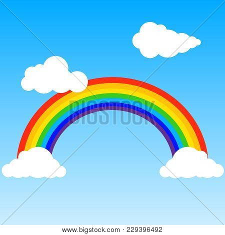 Rainbow, Realistic Rainbow With Clouds On A Blue Background. Rainbow Icon. Flat Design, Vector Illus