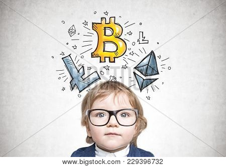 Cute Little Boy Wearing A Suit And Glasses Standing Near A Concrete Wall With A Big Data Sketch On I