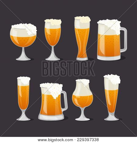 Beer Mugs With Foam Set In Cartoon Style. Brewery, Alcohol Drink, Ale Symbol. Beer Glass Collection,