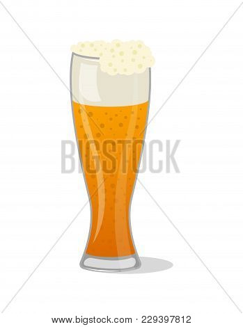 Glass Pint Tankards Of Frothy Beer Isolated Icon In Cartoon Style. Brewery, Alcohol Drink, Ale Symbo