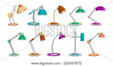 Desk Light Lamps Set In Flat Style. Office Or Home Interior Energy Furniture, Electric Equipment Iso